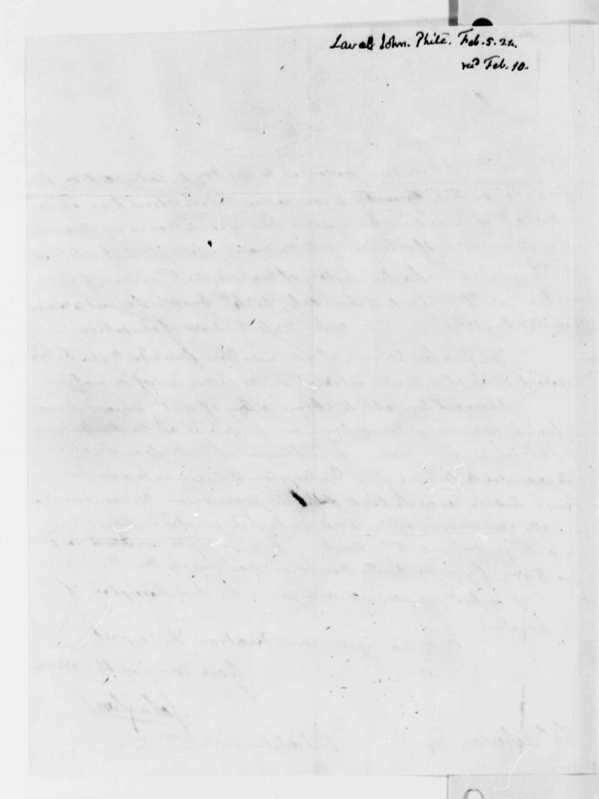 John Laval to Thomas Jefferson, February 5, 1824