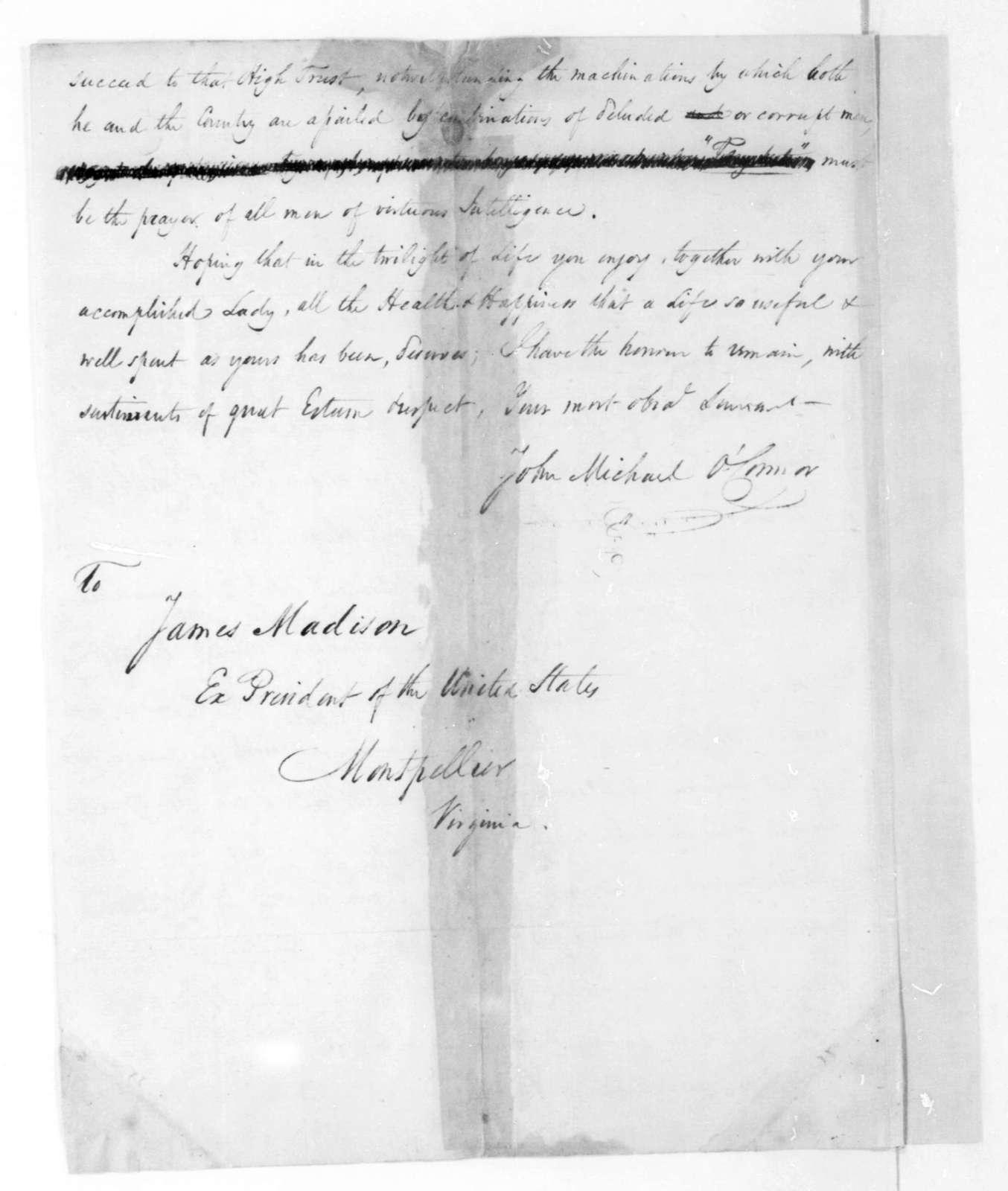 John Michael O'Connor to James Madison, April 29, 1824.