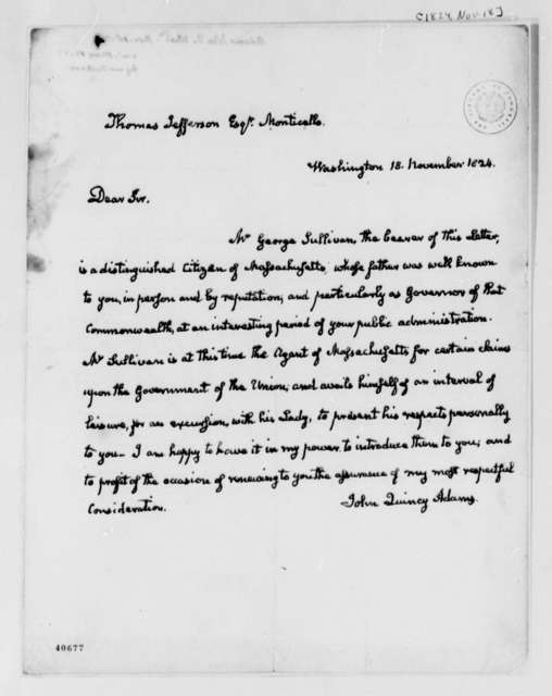 John Quincy Adams to Thomas Jefferson, November 18, 1824