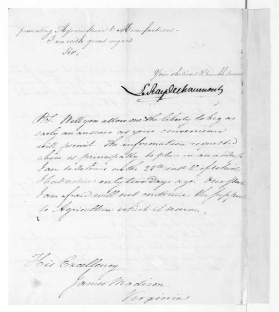 LeRay de Chaumont to James Madison, September, 1824.