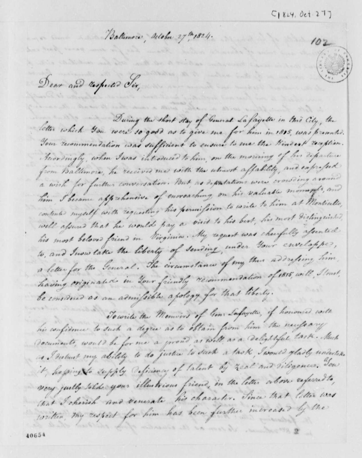 Louis H. Girardin to Thomas Jefferson, October 27, 1824