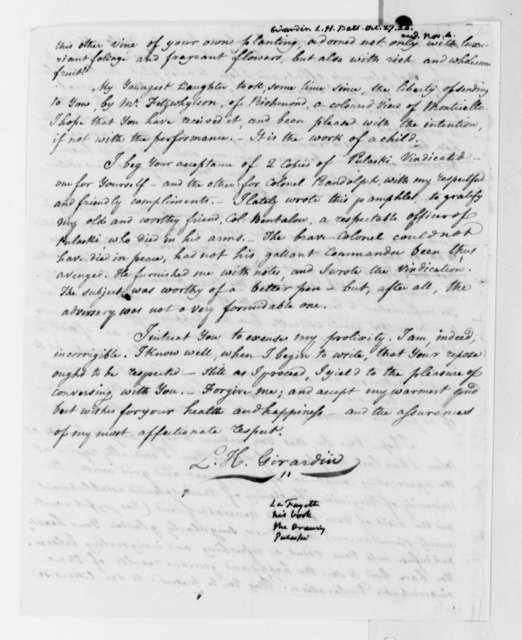 Louis H. Girardin to Thomas Jefferson, October 27, 1824