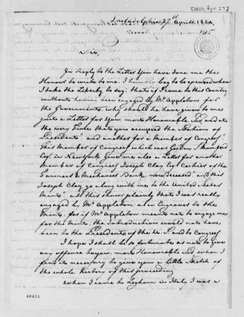 M. Furst to Thomas Jefferson, April 27, 1824