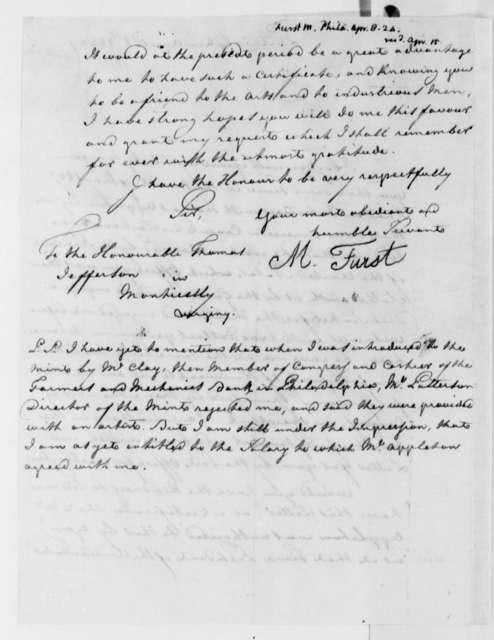 M. Furst to Thomas Jefferson, April 8, 1824