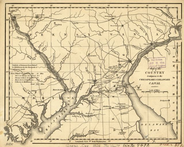 Map of the country contiguous to the Chesapeake & Delaware Canal /