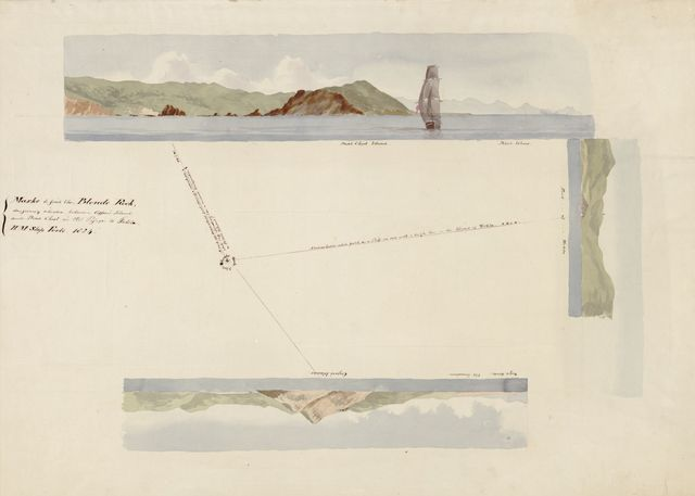 Marks to find the Blonde Rock dangerously situated between Copper's Island and Dead Chest in the passage to Tortola, H.M. Ship Forte, 1824.