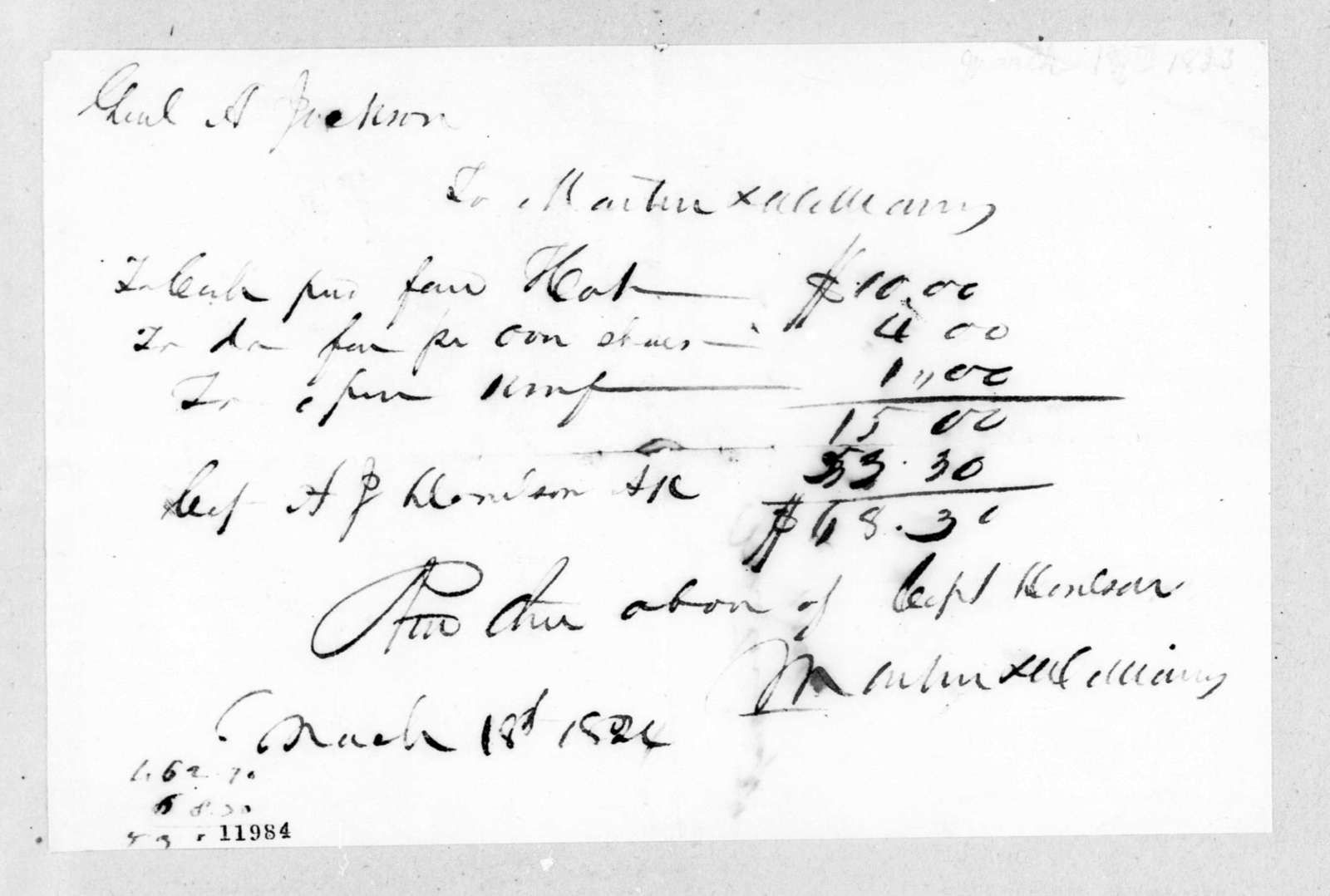 Martin & Williams to Andrew Jackson, March 18, 1824
