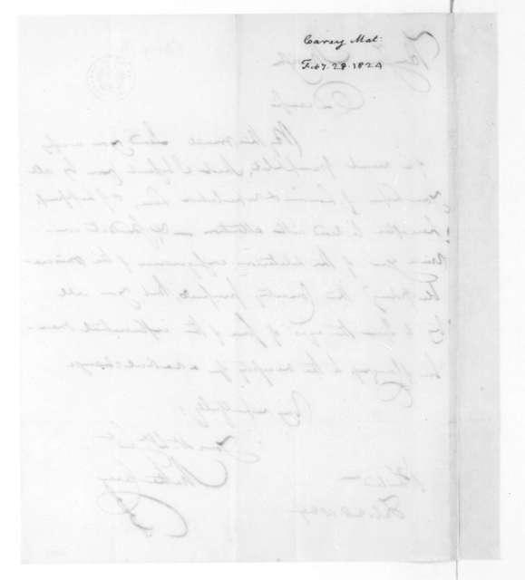 Mathew Carey to James Madison, February 28, 1824.