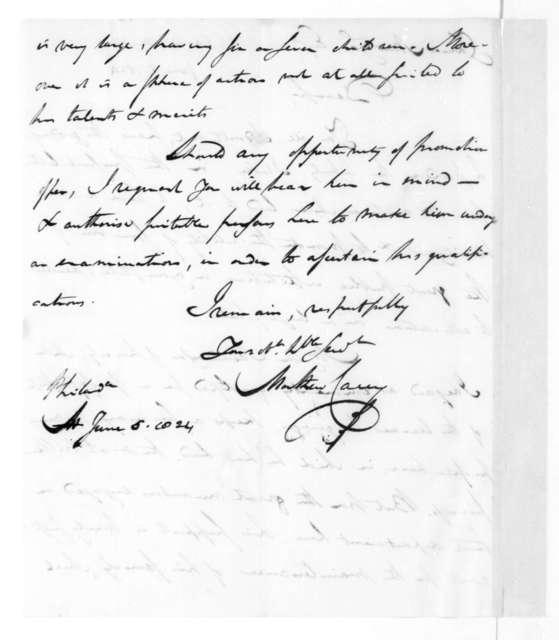Mathew Carey to James Madison, June 5, 1824.