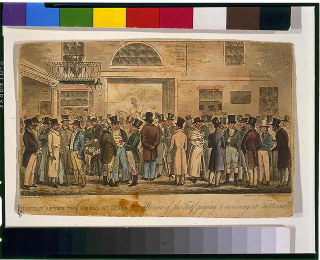 """Monday after the """"Great St. Leger."""" or Heroes of the turf paying & recieving [sic] at Tattersalls / drawn & engraved by R. Cruikshank."""