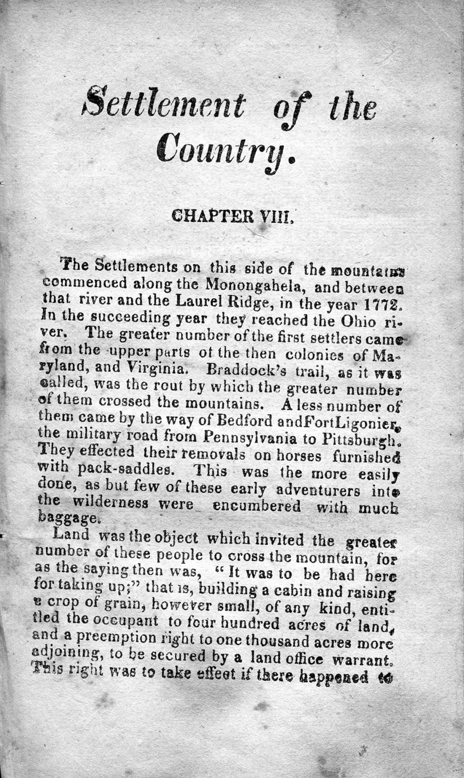 Notes, on the settlement and Indian wars, of the western parts of Virginia & Pennsylvania : from the year 1763 until the year 1783 inclusive ; together with a view, of the state of society and manners of the first settlers of the western country
