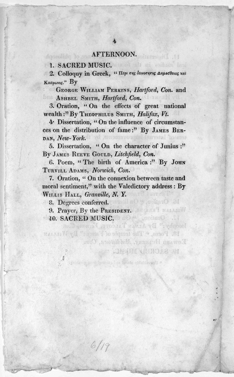 Order of exercises at commencement, Yale College, Sept. 8, 1824. New-Haven, Printed at the Journal office. 1824.
