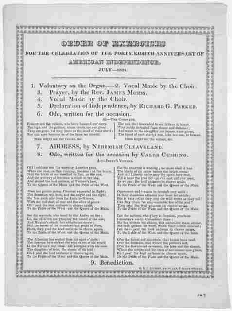 Order of exercises for the celebration of the] forty-eighth anniversary of American independence, July - 1824. [Newburyport, Mass.] W. & J. Gilman, printers [1824].