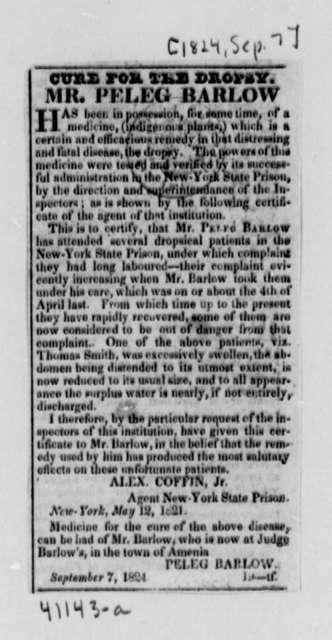 Peleg Barlow, September 7, 1824, Clippings on Dropsy