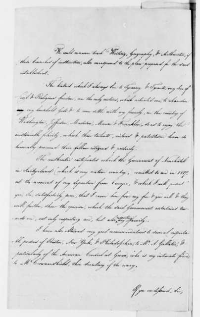 Peter Henry Leuba to Thomas Jefferson, July 14, 1824, and Copies in English, French, and Italian