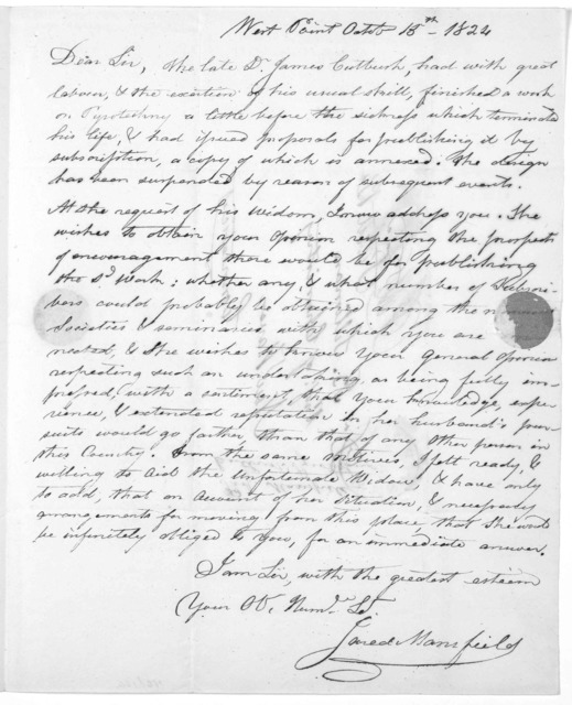 Proposals, for publishing by subscription a new work, entitled a system of pryotechny, comprehending the theory and practice, with the application of chemistry, designed for exhibition and for war, in four parts ... By James Cutbush. [West Point