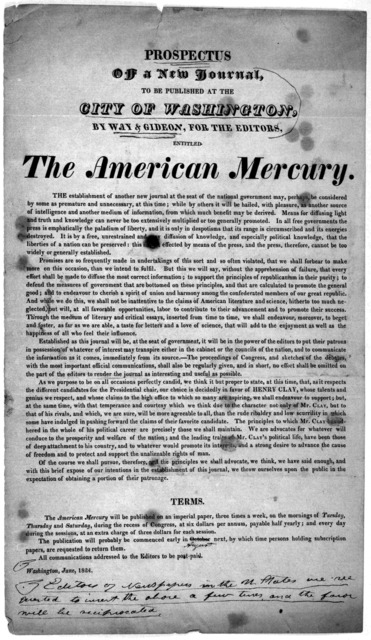 Prospectus of a new journal to be published at the City of Washington, by Way & Gideon, for the editors entitled The American Mercury. Washington, June, 1824.