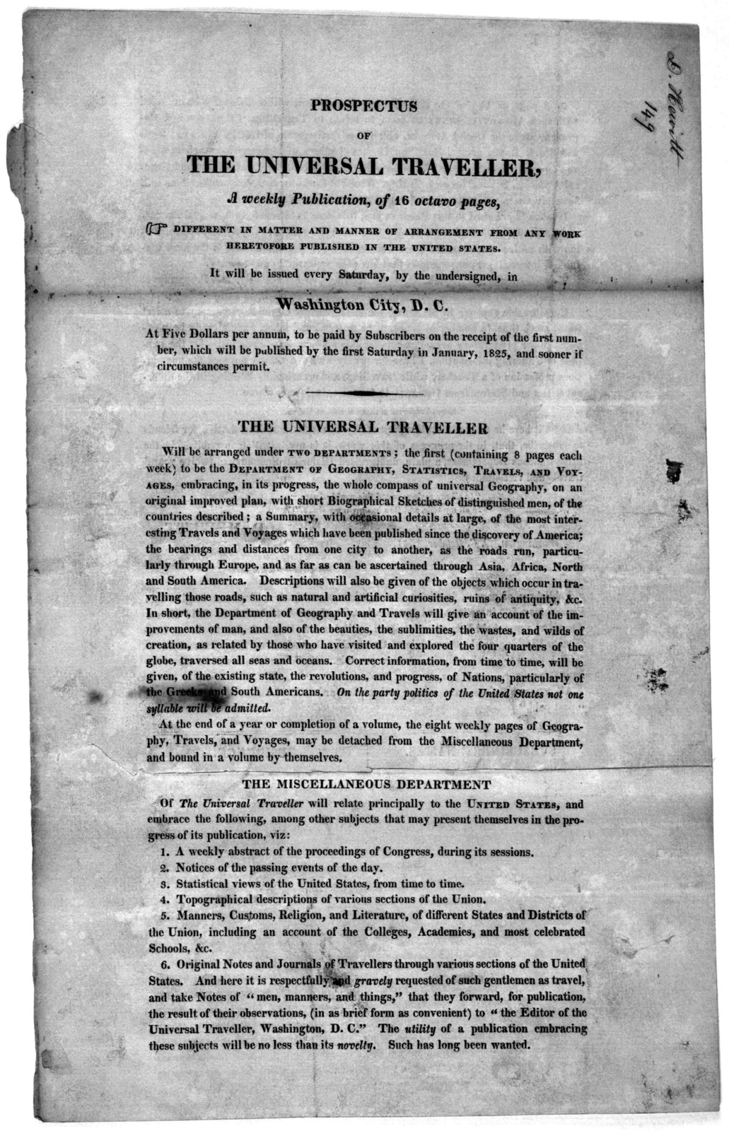 Prospectus of The Universal traveller, A weekly publication, of 16 octavo pages ... It will be issued every Saturday, by the undersigned, in Washington City, D. C. at five dollars per annum ... Washington, D. C. October, 1824.