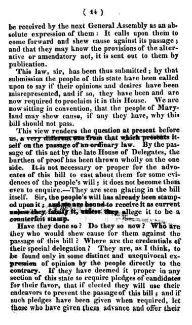 Remarks of John McMahon, in the House of delegates of Maryland, on 28th january, 1824, on the bill to confirm an act, entitled An an [!] act to extend to all the citizens of Maryland the same civil rights and religious privileges that are enjoyed under the Constitution of the U. States.