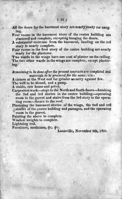 Report of the committee, appointed to inquire into the condition of the Louisville Hospital : to which is added, the report & petition of the managers of said institution