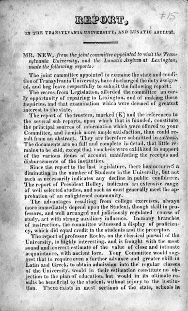 Report, on the Transylvania University, and lunatic asylum