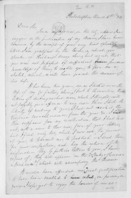 Richard Henry Lee to James Madison, March 6, 1824.