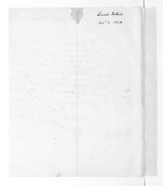 Robert Lewis to James Madison, November 8, 1824. Fredericksburg Virginia citizens.
