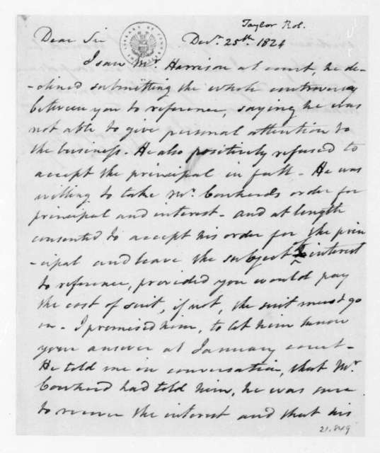 Robert Taylor to James Madison, December 25, 1824.