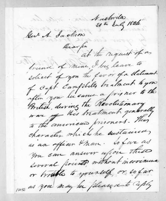 Samuel Houston to Andrew Jackson, July 20, 1824