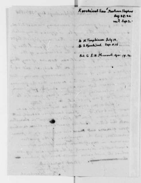 Samuel Kercheval to Thomas Jefferson, August 25, 1824
