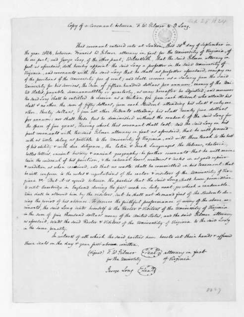September 30, 1824. Copy of a covenant between Francis W. Gilmer and George Long regarding the University of Virginia.