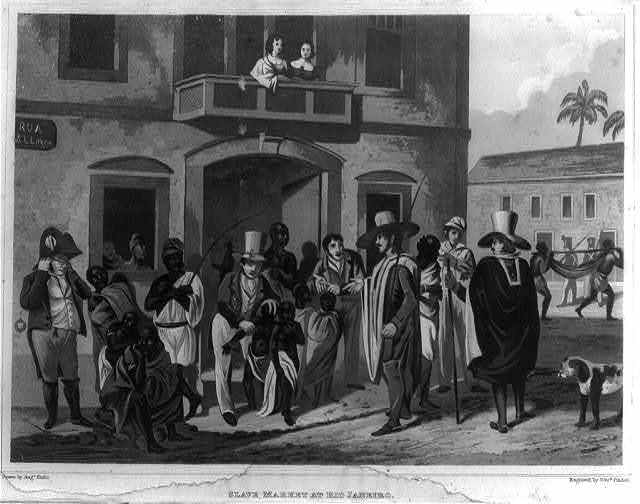 Slave market at Rio Janeiro [sic] / drawn by Augs. Earle ; engraved by Edwd. Finden.