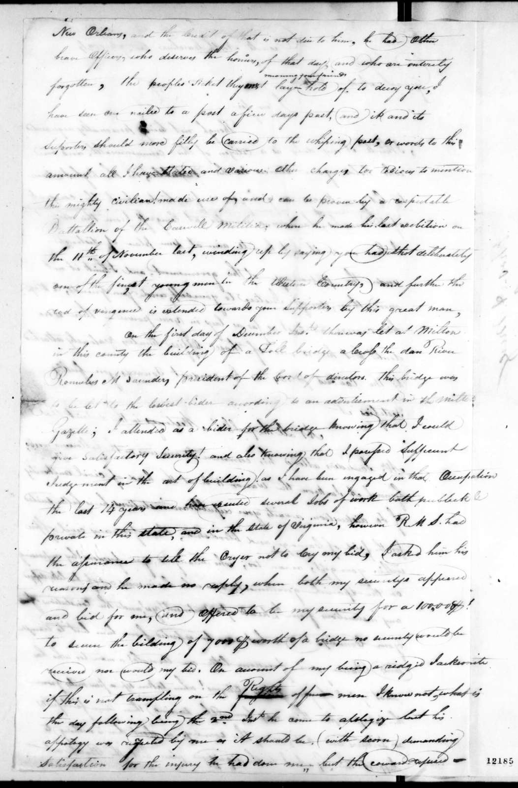 Thomas A. Mera to Andrew Jackson, December 7, 1824