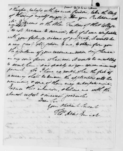 Thomas Addis Emmet to John C. Calhoun, November 20, 1824