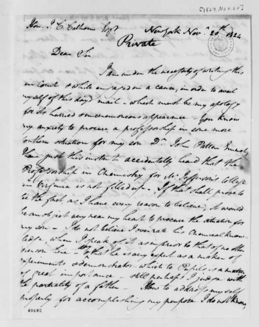 Thomas Addis Emmet to John C. Calhoun, November 20, 1824