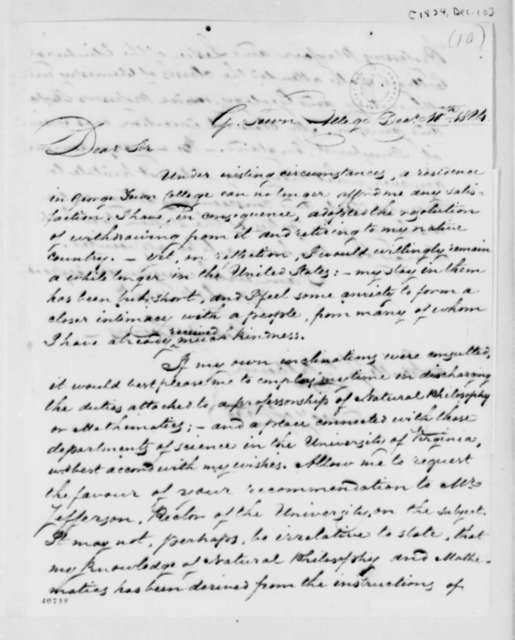 Thomas C. Levins to John C. Calhoun, December 10, 1824