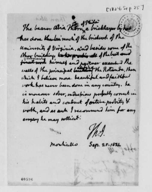 Thomas Jefferson, September 25, 1824, Recommendation for Thorn Abia