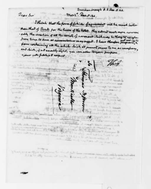 Thomas Jefferson to Arthur S. Brockenbrough, December 5, 1824, Articles of Agreement