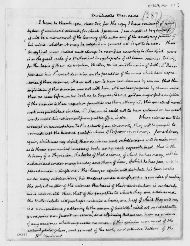 Thomas Jefferson to Augustus B. Woodward, March 24, 1824