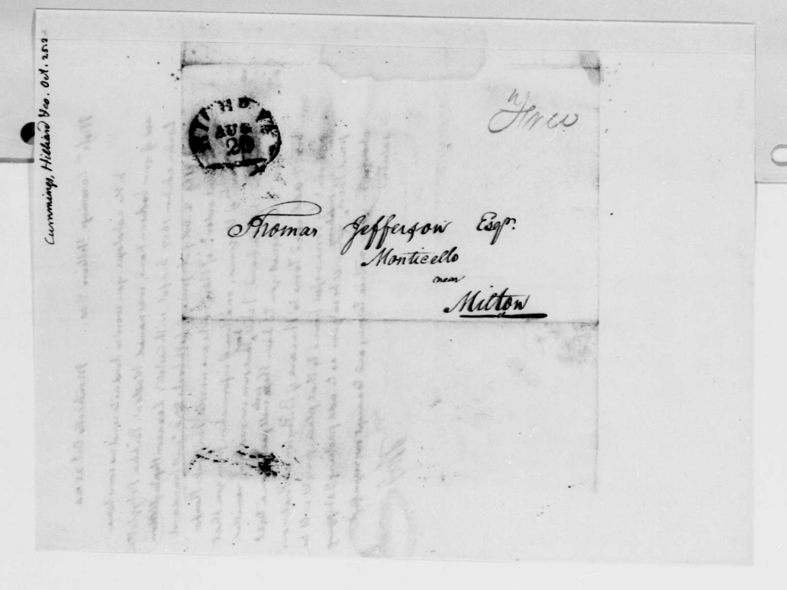 Thomas Jefferson to Cummings & Hillard, October 25, 1824