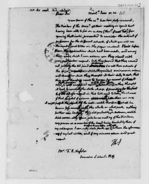 Thomas Jefferson to Ferdinand R. Hassler, June 22, 1824