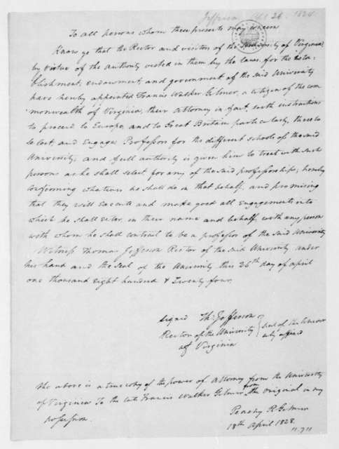 Thomas Jefferson to Francis W. Gilmer, April 26, 1824. Copy of the Power of Attorney.