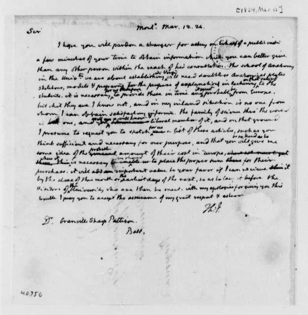 Thomas Jefferson to Granville Sharp Pattison, March 12, 1824