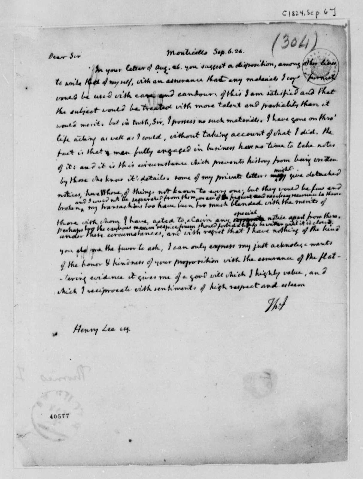 Thomas Jefferson to Henry Lee, Jr., September 6, 1824