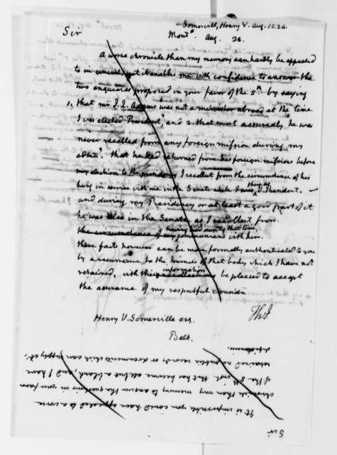 Thomas Jefferson to Henry V. Somerville, August 15, 1824