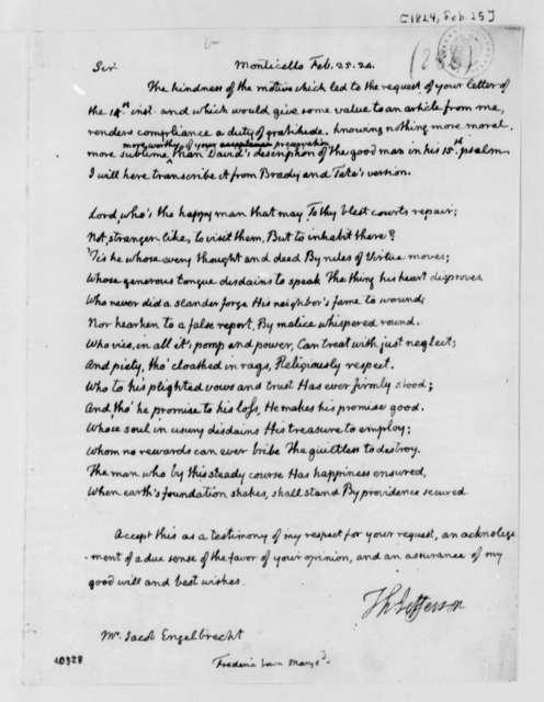Thomas Jefferson to Jacob Engelbrecht, February 25, 1824