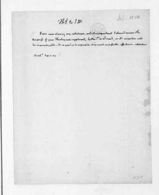 Thomas Jefferson to James Madison, September 3, 1824.