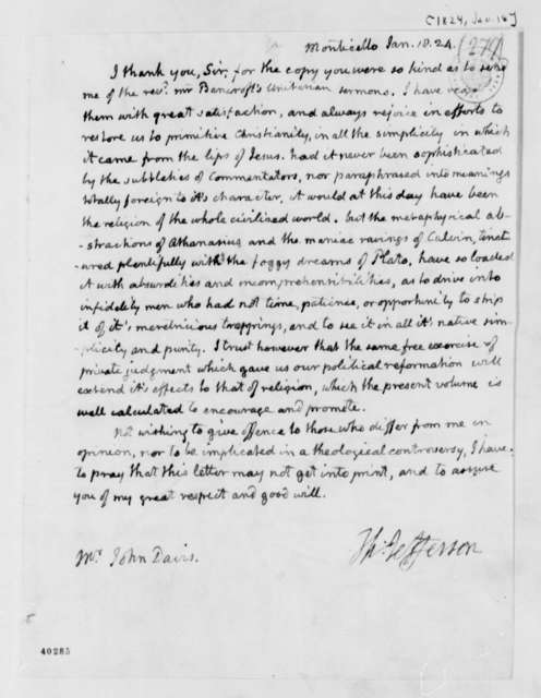 Thomas Jefferson to John Davis, January 18, 1824