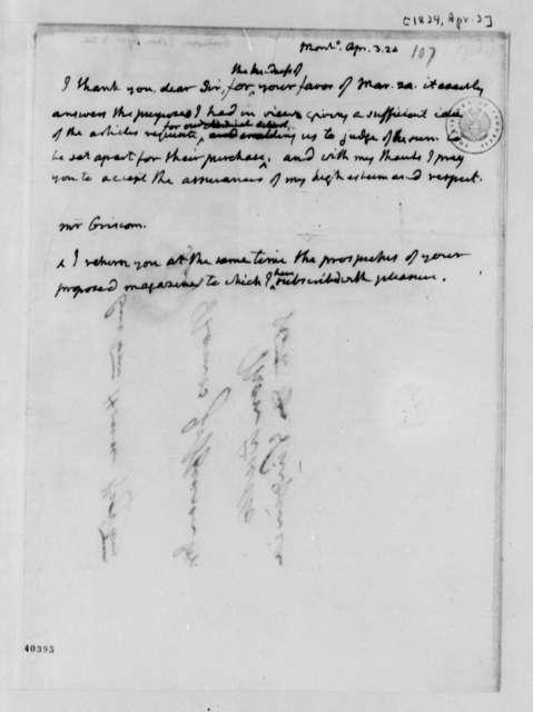 Thomas Jefferson to John Griscom, April 3, 1824
