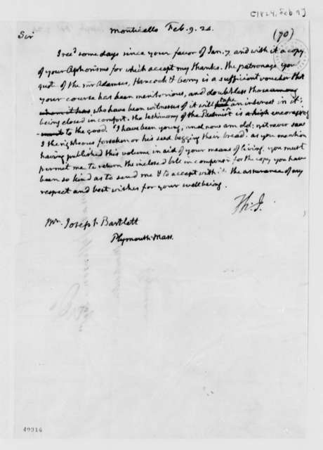 Thomas Jefferson to Joseph Bartlett, February 9, 1824